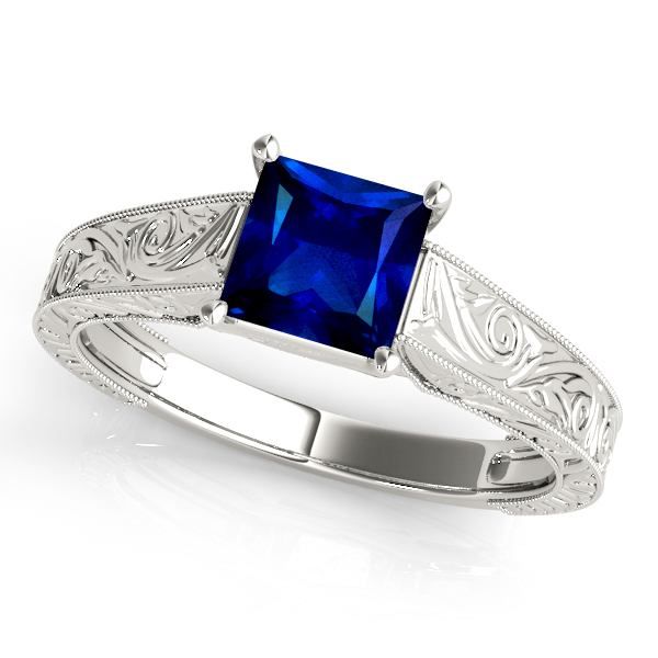 Exquisite Princess Cut Sapphire Vintage Engagement Ring