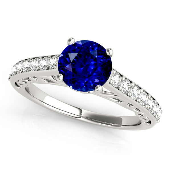 Nice Sapphire Engagement Ring with Vintage Shank Bridge