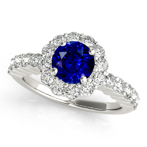 Exceptional Harmonica Flower Halo Sapphire Engagement Ring
