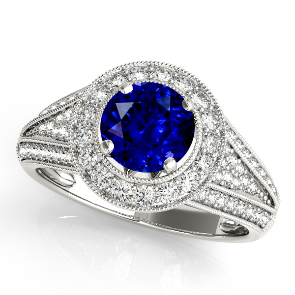 Cathedral V-Shaped Halo Sapphire Engagement Ring