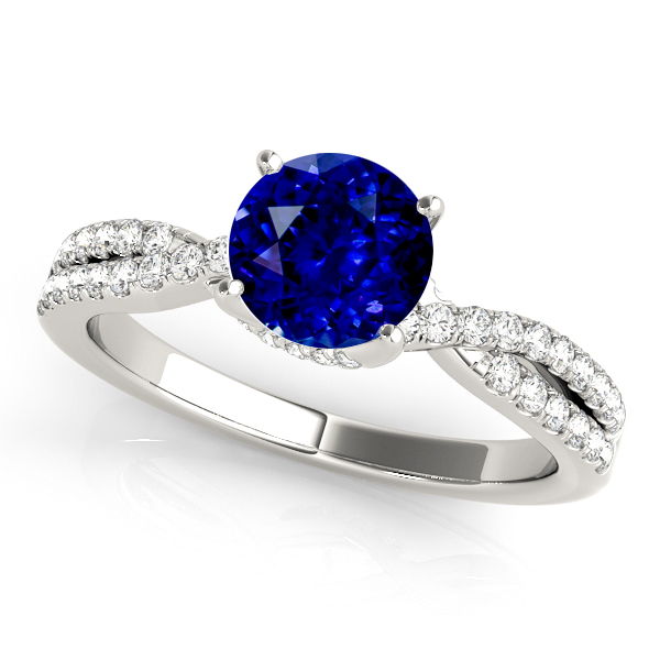 Stylish Sapphire Engagement Ring with Accent Diamonds