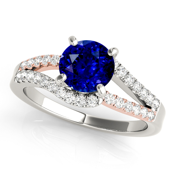 White Rose Gold Sapphire Engagement Ring Split Shank