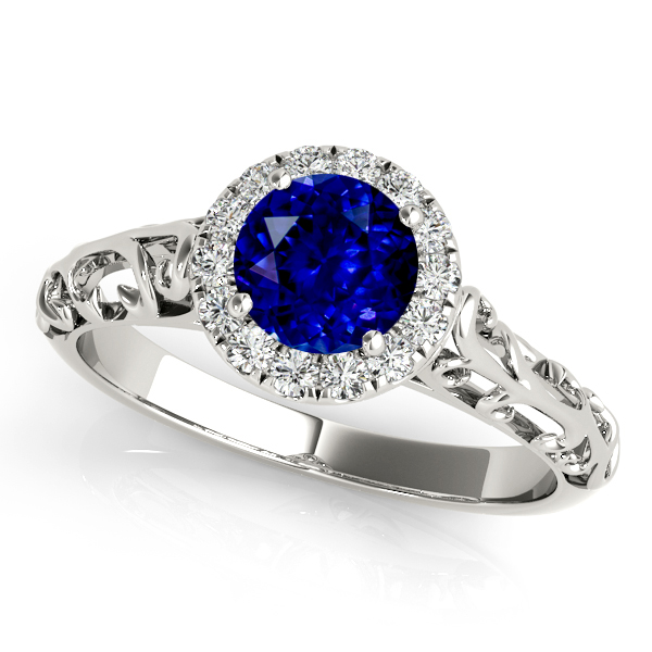 Unique Vintage Style Sapphire Engagement Ring