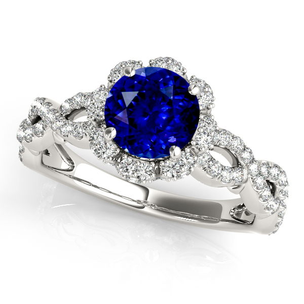 Fine Double Infinity Twist Halo Sapphire Engagement Ring