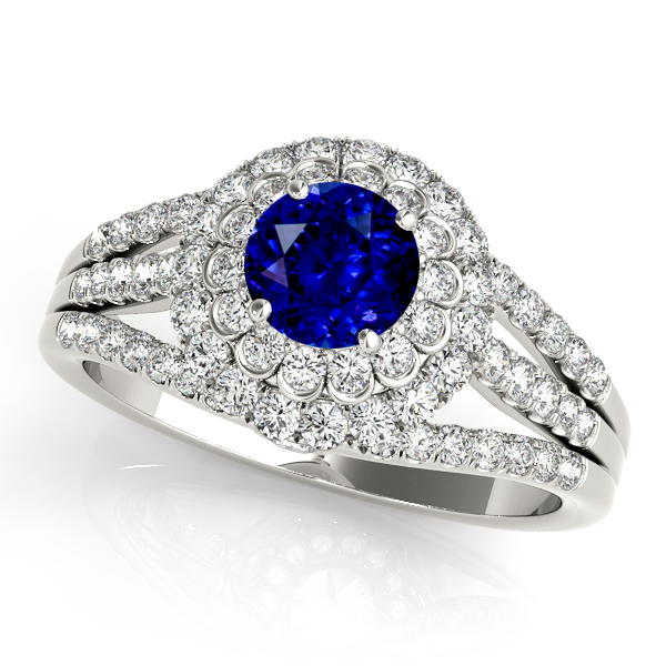 Gorgeous Double Halo Sapphire Engagement Ring White Gold