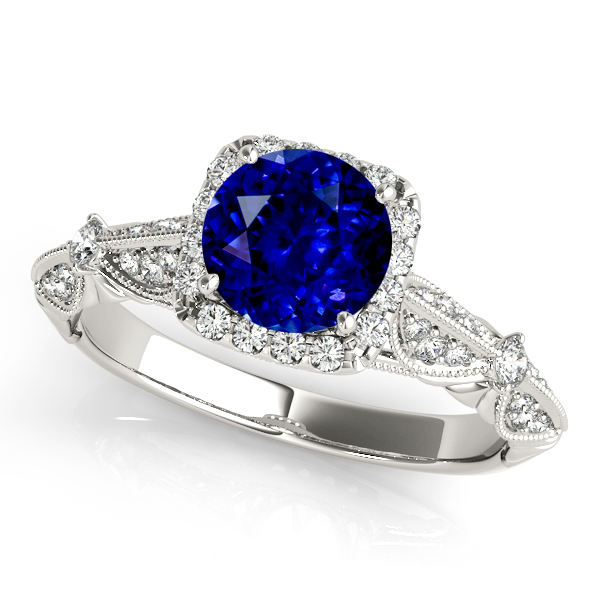 Vintage Halo Sapphire Engagement Ring