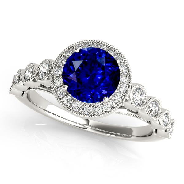 Magnificent Vintage Filigree Sapphire Halo Engagement Ring