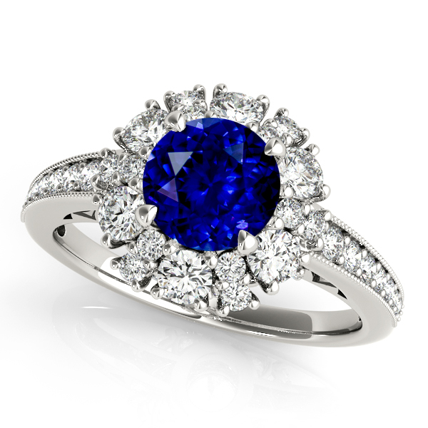 Fine Halo Sapphire Engagement Ring White Gold Filigree