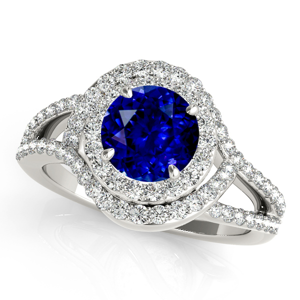 Magnificent Curved Halo Sapphire Engagement Ring
