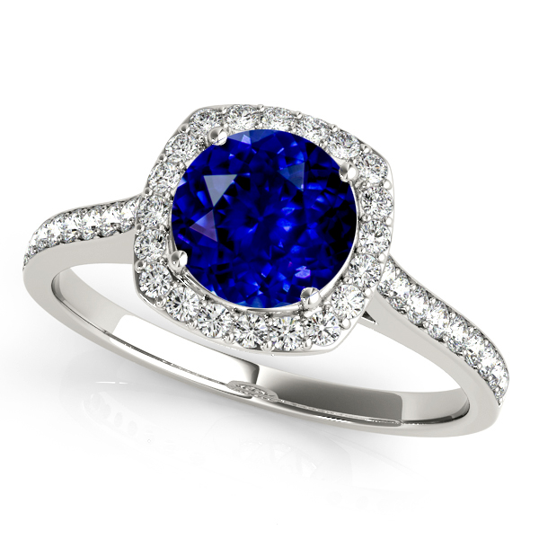 Cushion Halo Sapphire Engagement Ring White Gold