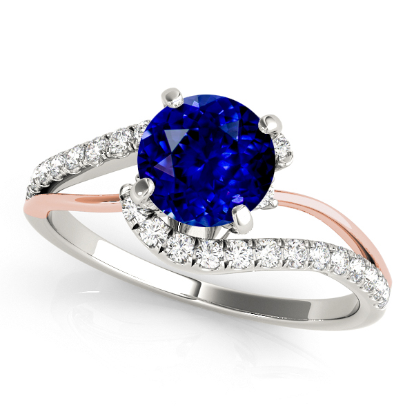 Fine Two Tone Gold Bypass Sapphire Engagement Ring