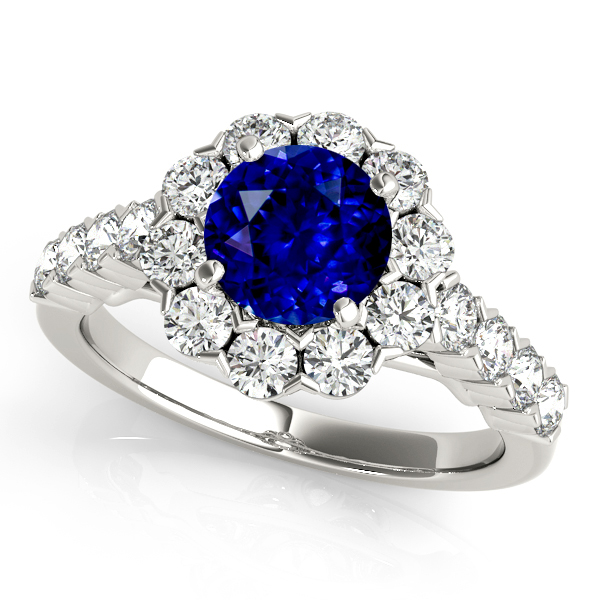 Fine Flower Halo Sapphire Engagement Ring in White Gold