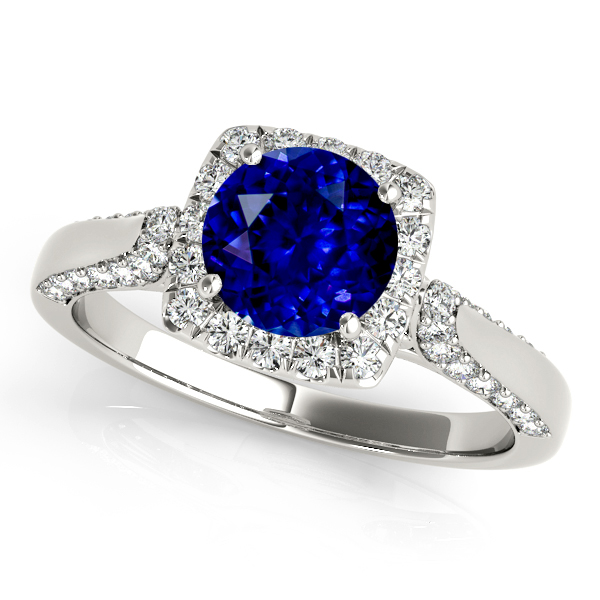 Square Halo Sapphire Engagement Ring in White Gold