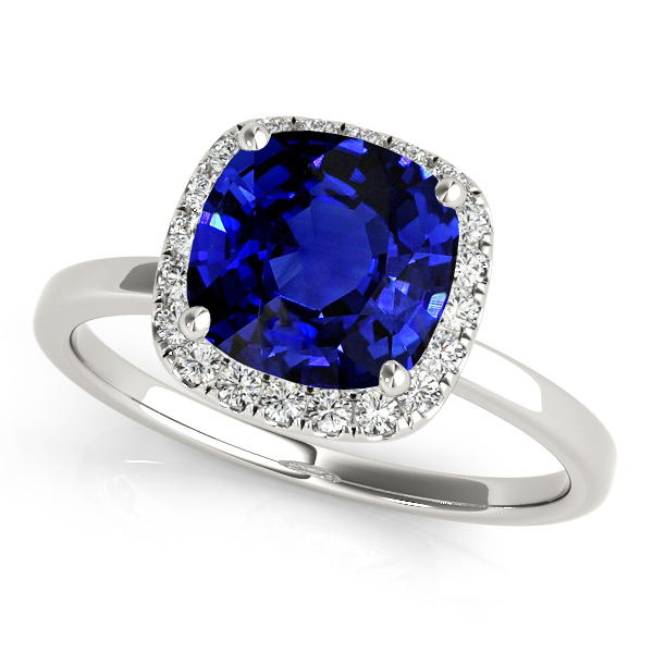 Magnificent Cushion Cut Sapphire Halo Engagement Ring