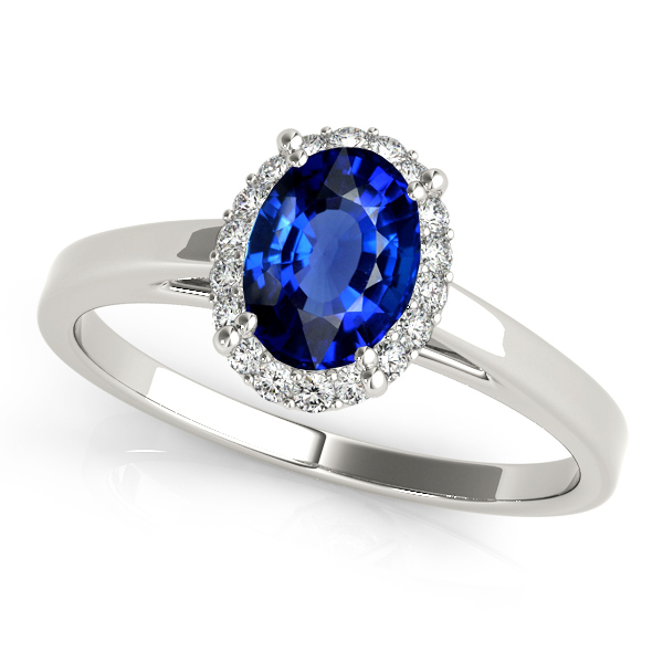 Stylish Oval Sapphire Halo Engagement Ring