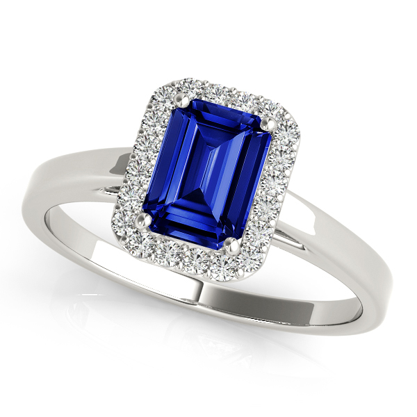 Emerald Cut Sapphire Halo Engagement Ring White Gold