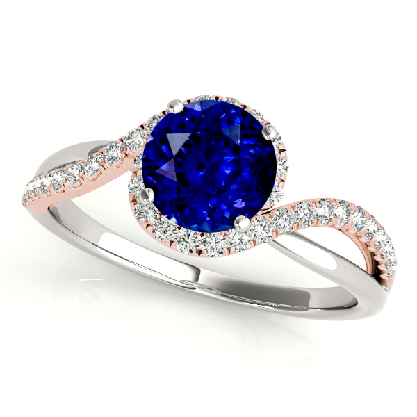 Sapphire Engagement Ring with Glamorous White and Rose Gold Bypass