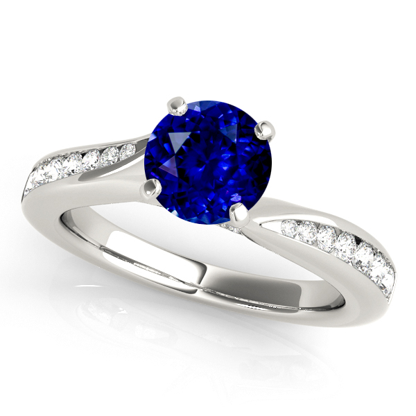 Exquisite Side Stone Sapphire Engagement Ring Curved White Gold