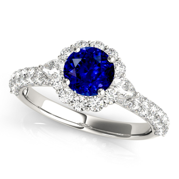 Flower Halo Sapphire Engagement Ring White Gold