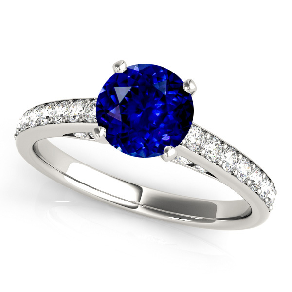 Side Stone Sapphire Engagement Ring in White Gold
