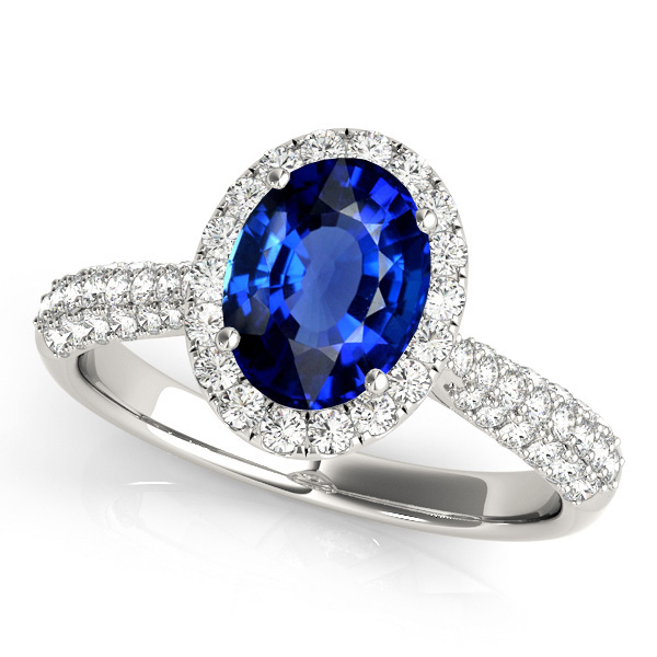 Oval Cut Sapphire Halo Engagement Ring White Gold