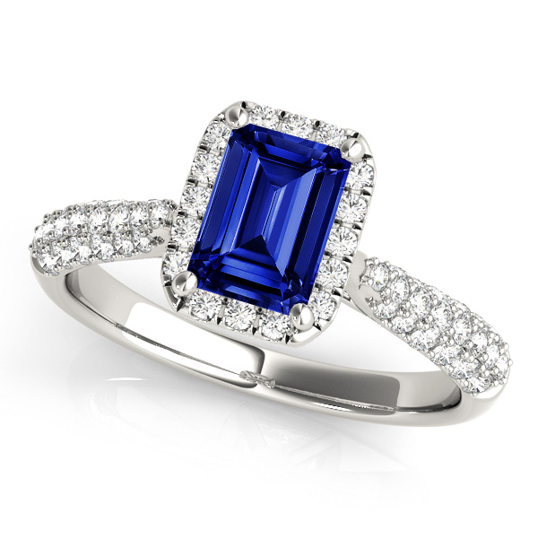 Emerald Cut Sapphire Engagement Ring with Halo