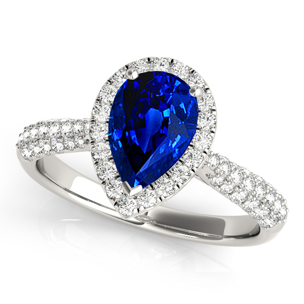 Pear Sapphire Halo Engagement Ring
