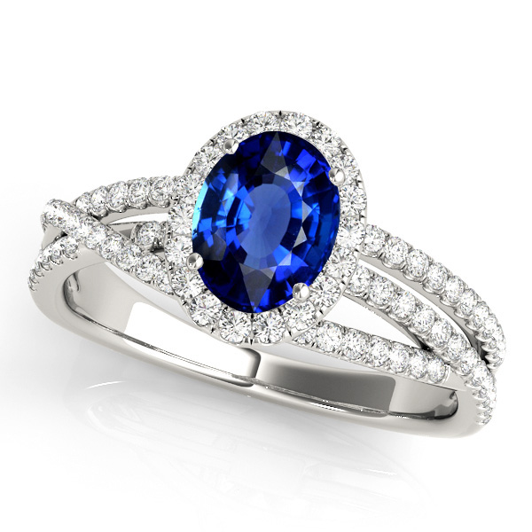 Oval Sapphire Engagement Ring Split Shank Halo
