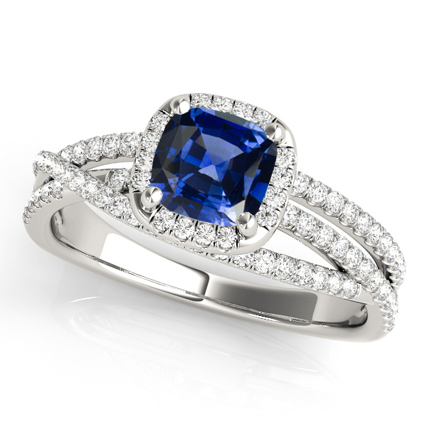 Cushion Cut Sapphire Engagement Ring With Split Shank