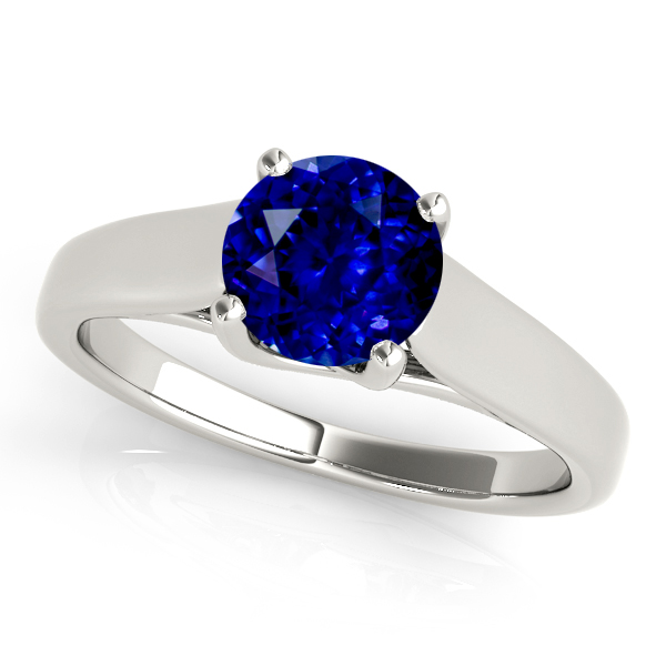 Round Cut Sapphire Solitaire Engagement Ring