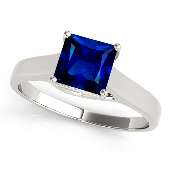 Princess Cut Sapphire Solitaire Engagement Ring White Gold