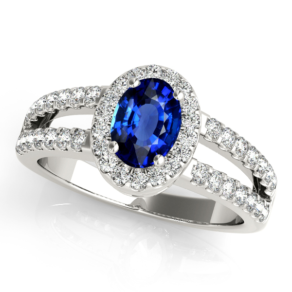 Split Shank Oval Cut Sapphire Halo Engagement Ring