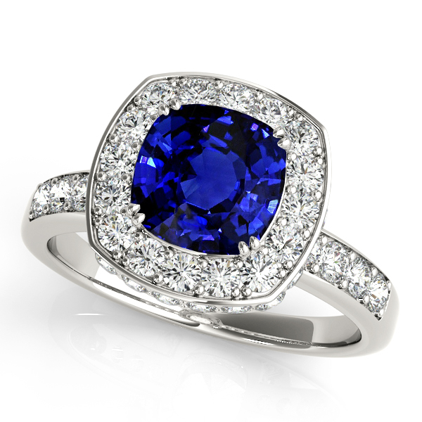 Cushion Cut Sapphire Vintage Engagement Ring