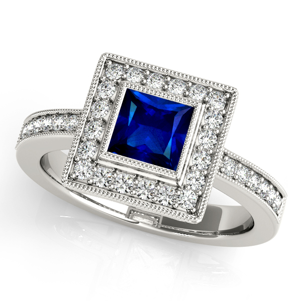 Upscale Cushion Cut Sapphire Engagement Ring White Gold
