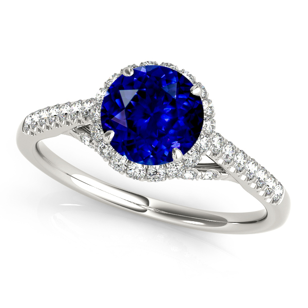 Fancy White Gold Sapphire Engagement Ring