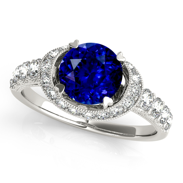Charming Curved Shank Halo Sapphire Engagement Ring