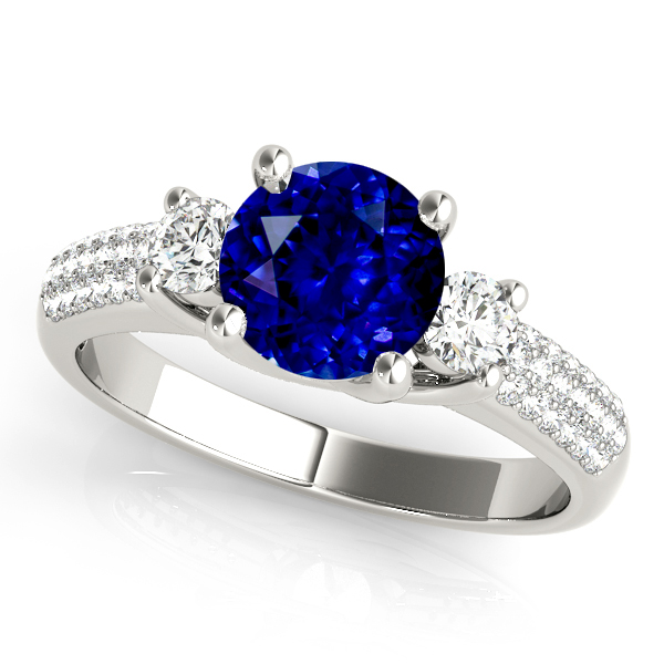 Fashion-Forward Three Stone Sapphire Engagement Ring