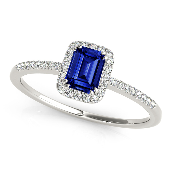 Halo Emerald Cut Sapphire Engagement Ring