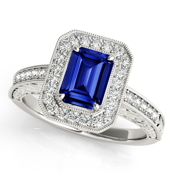 Luxury Emerald Cut Halo Sapphire Engagement Ring