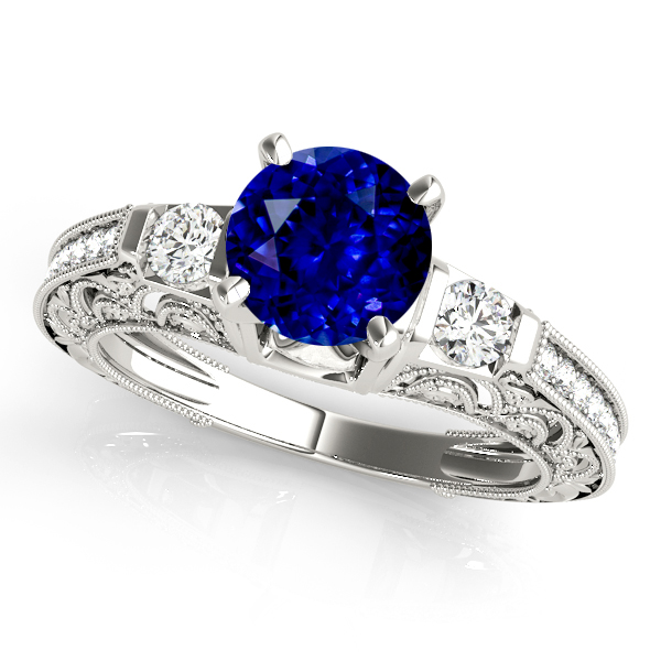 Classic Vintage Sapphire Engagement Ring White Gold