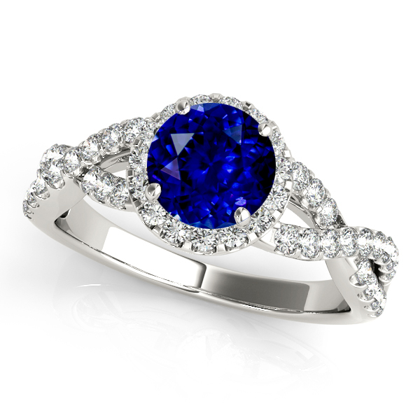 White Gold Infinity Halo Sapphire Engagement Ring