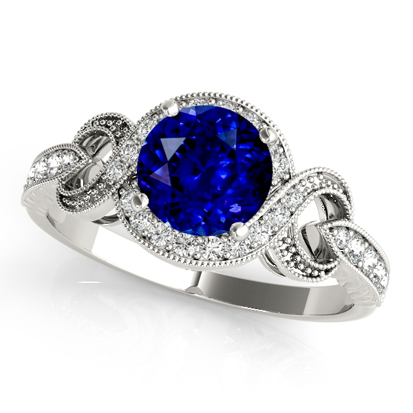 Extraordinary Infinity Halo Sapphire Vintage Enagement Ring