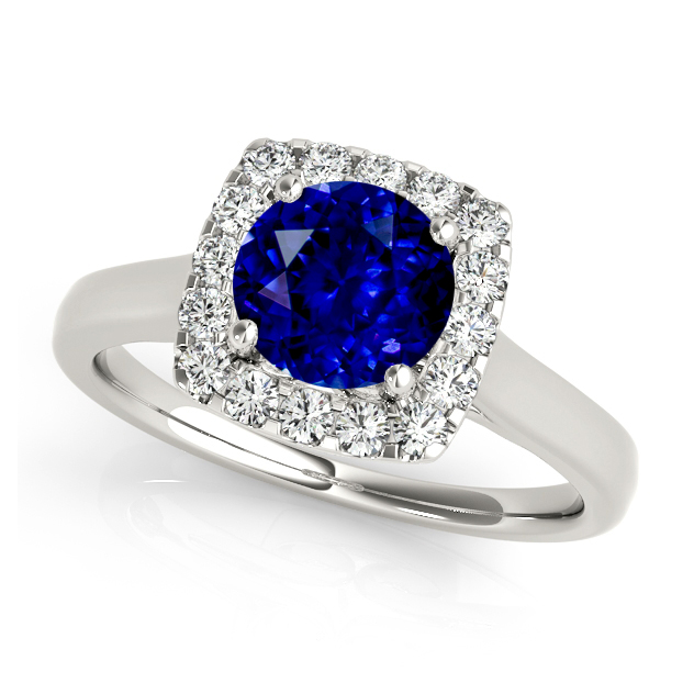 Classic Halo Sapphire Engagement Ring