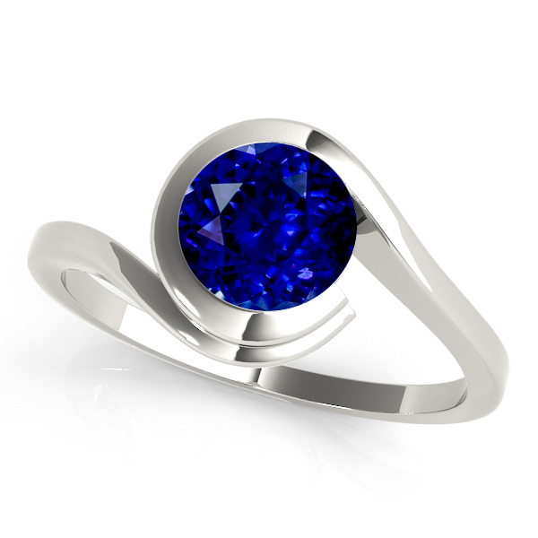 White Gold Sapphire Engagement Ring Solitaire Bypass