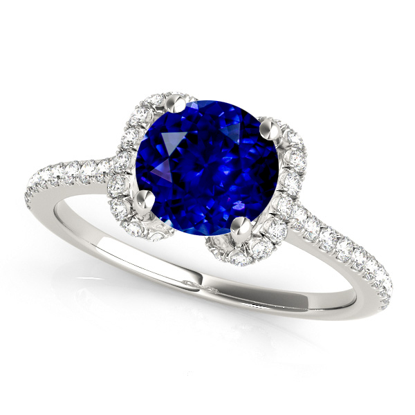 Unique Round Halo Sapphire Engagement Ring