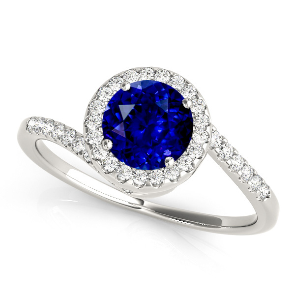 Lovely Halo Sapphire Engagement Ring Curved Bypass