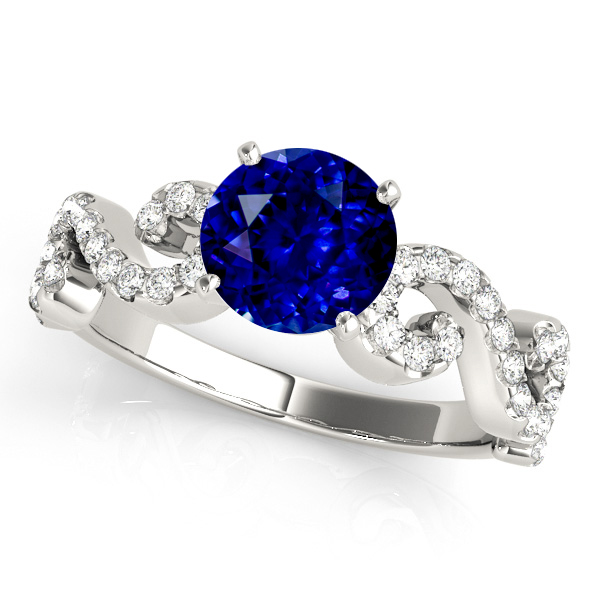 White Gold Twist Sapphire Engagement Ring
