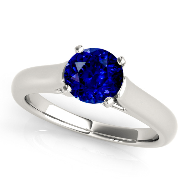 Solitaire Sapphire Engagement Ring in White Gold