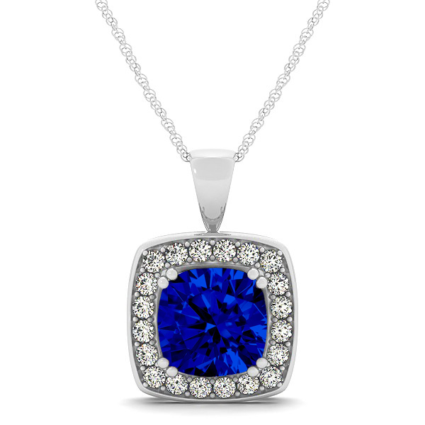 Attractive Dark Blue Cushion Sapphire Halo Necklace