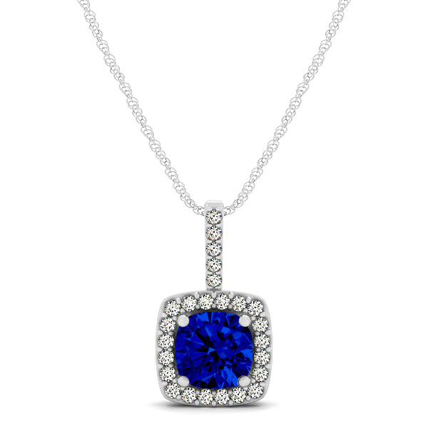 Cushion Sapphire Square Halo Necklace